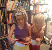 Short-pants and Buddy-roo, reading at Shakespeare & Company last summer